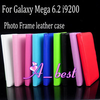Wholesale Album Photo Frame Wallet Credit Card Slot Holder Stand Folio Flip Leather Case Cover For Samsung Galaxy Mega i9200 Mix Color