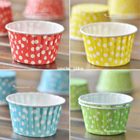 Wholesale red blue yellow green cupcake baking cases liners colored cake cups dot polka dots party wedding birthday supplies