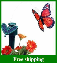 Wholesale New Desgin Solar Butterfly Simulation Flying Butterflies Kids LED Toys Grass Balcony