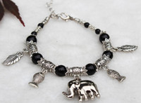 Beaded, Strands China-Tibet Women's LOVELY JEWELRY TIBET SILVER BLACK JADE ROUND BEADS ELEPHANT PENDANT BRACELET