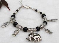 Beaded, Strands China-Tibet Women's LOVELY JEWELRY TIBET SILVER BLACK JADE ROUND BEADS ELEPHANT PENDANT BRACELET