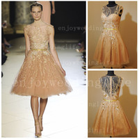 Wholesale 2013 Sexy New Elie Saab Cap Sleeves Sheer Tulle Pageant Dresses Beaded Embroidery Evening Gown