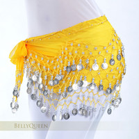 Sequin belly dance hip scarf - 2piece Colors Rows Coins Belly Egypt Dance Hip Skirt Scarf Wrap Belt Costume indian dresses