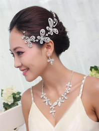 Wholesale Bridal Rhinestone Butterfly Weeding Jewelry Sets Rhinestone Headdress Fancy Necklace Flowers Earring
