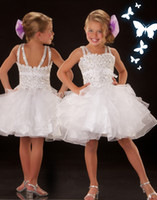 Spaghetti Beads Organza White Short Ball Gown Little Girls' Pageant Dresses Shiny Crystals Glitz Tiers Elegant Bow Bridesmaid Custom Made Organza Spaghetti Hot Sell