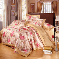 Wholesale Painting Duvet Cover Pillow Case Sheet Pastoral Cotton Painting Satin jacquard Flowers Bed In a Bag Bedding Supplies