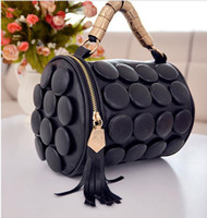 Wholesale Female small cylinder tassel handbag new arrival vintage button casual women s bags cosmetic