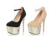 Women diamante shoes - 2013 new fashion sexy diamante rivet cm super high heeled waterproof platform Single shoes AS9