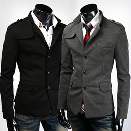 Wholesale British Style Slim Fit Men Blazer Outwear Stand Collar Single Breasted Formal Suit Jackets Fall Men Peacoat AW0716