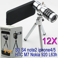 Wholesale 12x Optical Zoom Telescope Camera telephoto Lens Tripod Case for iphone S samsung galaxy S4 i9500 S3 i9300 N7100 HTC one Nokia