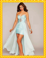 Wholesale Sweetheart Light Ice Blue Chiffon High low Homecoming Dresses Shiny Beaded Crystals Sequins Corset Back Women Formal Long Prom Custom Made