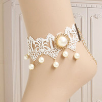 Wholesale gothic royal vintage white lace women s anklets foot chain fashion costume accessory jewelry FL