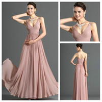 Sexy V- Neck Bridesmaid Dresses Pleated Floor lenght Long Chi...