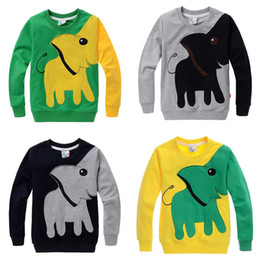 Wholesale Autumn New Arrival Baby Boy Girl s T Shirt Kids Long Sleeve Cartoon Elephant Cotton Joining Together Tops Children s Sport Casual Clothing