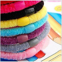 Wholesale Hair rope candy colors hair rubber bands cotton Headband letters numbers text hair jewelry
