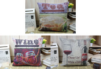 Wholesale Novelty Tea Cup Wine Bottle Wine Glass Cheer Up Wine A Little word pattern cushion cover home bar decorative throw pillow case
