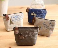 Wholesale 2015 new Vintage canvas bag Coin keychain keys wallet Purse change pocket holder organize cosmetic makeup Sorter Y604