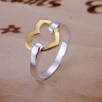 Wholesale Christmas Gift silver golden heart charms finger rings heart rings size