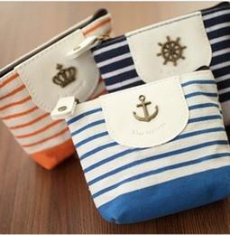 Wholesale Y614 Navy purse zero Miss Qian Bao Korean new cute little fresh admission package Naval Air fresh stripe canvas navy anchor coin purse