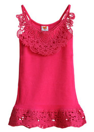 Wholesale children s tank tops girls fashion clothing Korean children s clothing girls summer lace halter Large child vest