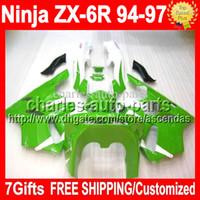 7gifts custom For KAWASAKI NINJA ZX6R 94- 97 ZX- 6R Green whit...
