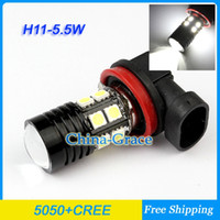 Wholesale H11 W SMD LED Cree XP E with Lens K Pure White LED Bulb For Car Vehicle H11 Car Fog Head Light