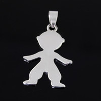 USA Unisex Anniversary 50pcs lot 25*39mm Top selling jewelry High polished silver Stainless Steel baby boys charms pendant, Thanksgiving ,Christmas gifts