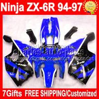 venda por atacado 2001 kawasaki zx6r fairings-7Gifts Carroçaria para KAWASAKI NINJA preto ZX6R azul 94-97 94 95 96 97 ZX-6R ZX 6R 6 RC # 528 1994 1995 azul preto Kit 1996 1997 completa Fairing