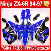 achat en gros de zx6r 97-7gifts Carrosserie Pour KAWASAKI NINJA noir ZX6R bleu 94-97 94 95 96 97 ZX-6R ZX 6R 6 RC # 528 1994 1995 1996 1997 noir Kit carénage intégral bleu