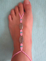 Barefoot Sandals bead retailers - new arrival barefoot stretch anklet chain with toe ring ccb beads pair retailer