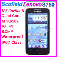 Wholesale 4 Inch Lenovo LePhone S750 Android Cell Phone MTK6589 Quad Core IP67 Waterproof Dustproof Shockproof G G MP G GPS