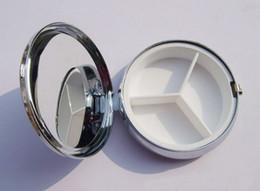 Wholesale 100X Metal Pill Organizer Box of Medicine DIY Round Silver Pill Boxes Pill Cases