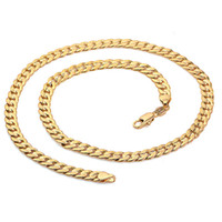 Wholesale Classics Men k Solid Gold GF Cuban Link Chain Real Plated Curb Necklace