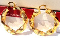 Wholesale Heavy Big Twisted K Yellow Gold Womens Hoop Earrings real gold not solid not money