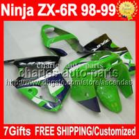 achat en gros de zx6r vert carénage-7gifts Custom Pour KAWASAKI NINJA ZX6R 98-99 ZX-6R ZX-636 98 99 ZX 6R 636 Vert pourpre 6 R C # 609 Carrosserie ZX636 1998 1999 vert blanc Carénage