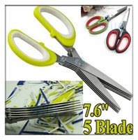 Wholesale Stainless Steel Blade Multi Cut Scissors Green Sharp Fresh Herb Kitchen Tools