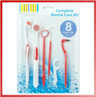 Adults   Free Shipping 1Set 8Pcs Dental Care Tooth Brush Kit Floss Stain Tongue Picks Teeth Denticlean