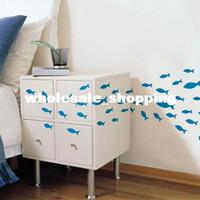 PVC pvc cabinet door bathroom - Simple cartoon bathroom cabinet door wall stickers set fish