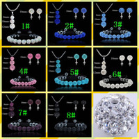 Wholesale Mix Color Shamballa jewelry Silver Sparkly AB Color Disco Ball Pendant necklace bracelet stud set sets