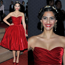 Wholesale Evening dress Celebrity dress Sonam Kapoor Red Carpet Dressese Myriam fares Sweetheart Ankle Length Red Ball gown Custome