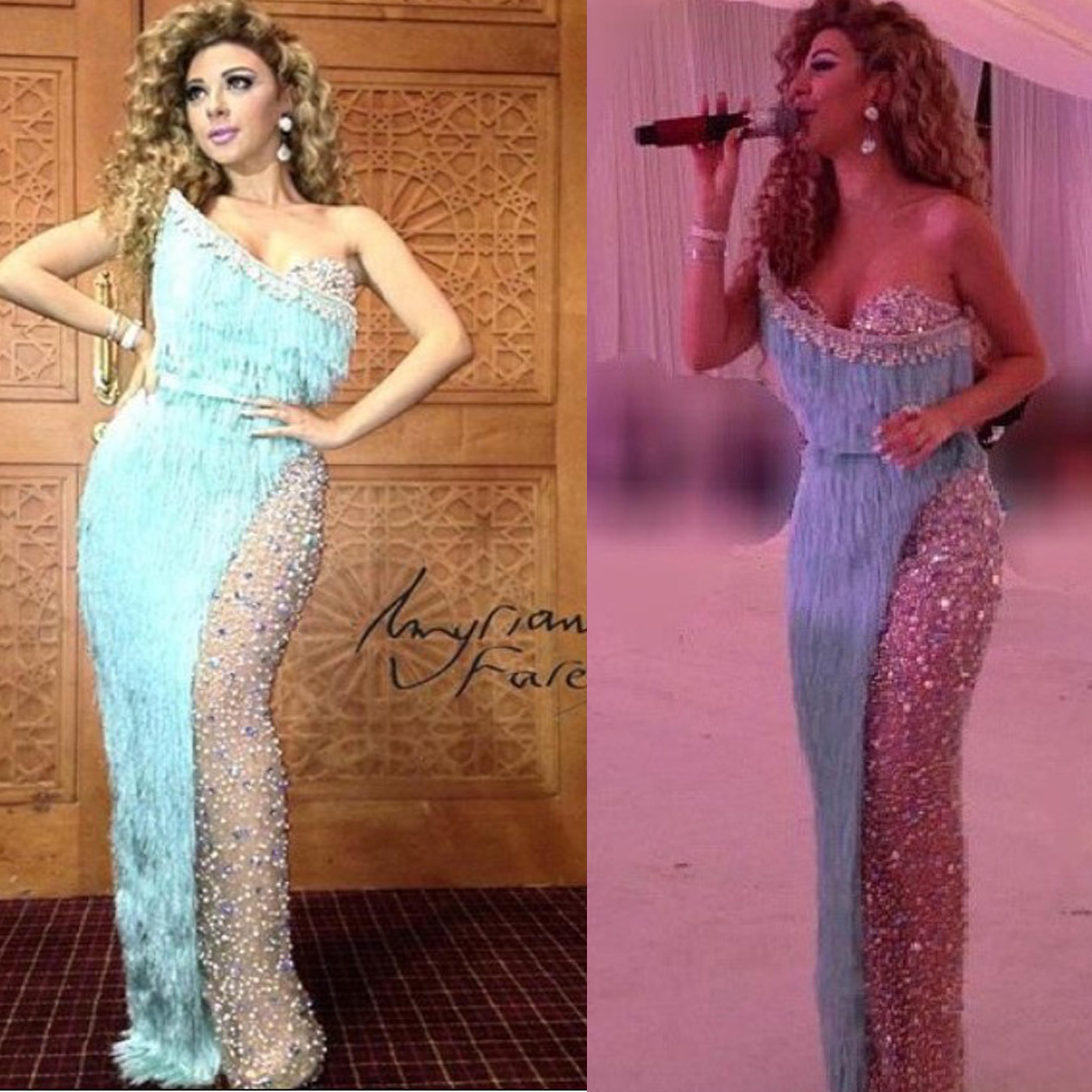 Celebrity Dress Red Carpet Dressese Myriam Fares Sweetheart Floor Length Tassles Crystals