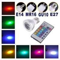 Wholesale 5pcs E27 GU10 MR16 E14 W RGB Bulb Light Color Change lamp with Remote Control LED spotlight RGB global LED light