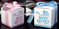 Wholesale Free ship Ribbon light blue or pink wedding favor paper box favour gift best candy boxes for baby shower amp wedding