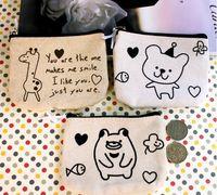 Coin Purses 3colour Giraffe ,Bear, Pig japanese style cotton cloth fabric coin purse key wallet storage bag mini handbag 12*9.6 cm key bag key case coin purse card holder