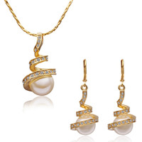 Crystal Gold Plate/Fill Celtic High quality fashion jewellery for women 18K Yellow Gold Plated Crystal Pearl Earrings & Necklace Jewelry Sets cheap costume jewelry set