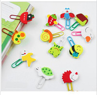 Wholesale Cartoon animal wooden clip painted lovely animal clip bookmarks binder