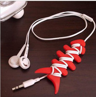 Wholesale Silicone rubber fish bone earphones cable bobbin winder cord cable winder holder