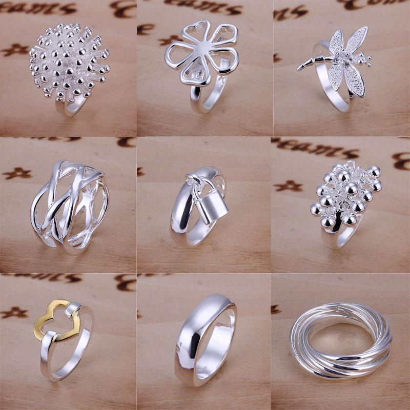 Good Selling 925 Sterling Silver Multi Styles Charms Rings Vintage Bagues Taille