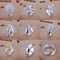 Wholesale Good Selling Sterling Silver Multi Styles Charms Rings Vintage Rings Size Mixed