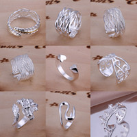 Wholesale 30Pcs Mixed Styles Sterling Silver Rings Vintage Fashion Rings Multi Size Mixed